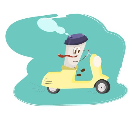 character Cup of coffee rides a yellow scooter-cartoon style illustration