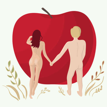 Nude young man and beautiful girl stand hand in hand in front of a red Apple - concept of Adam and Eve Illustration