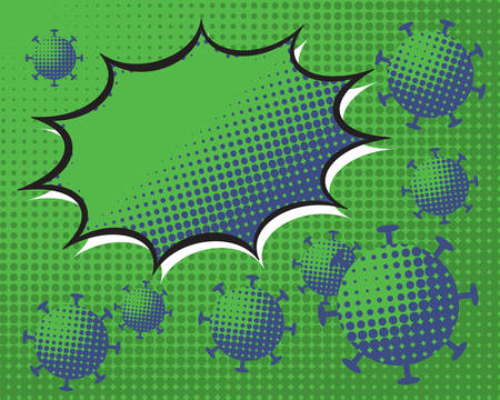 Background with bubbles in pop-art style background with the coronavirus covid-19 - Coronavirus outbreak.  Pop art retro dotted background