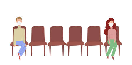 Two people sitting distance apart on row of chairs  - social distancing to prevent or protect themselves from contracting coronavirus covid-19 during virus outbreak