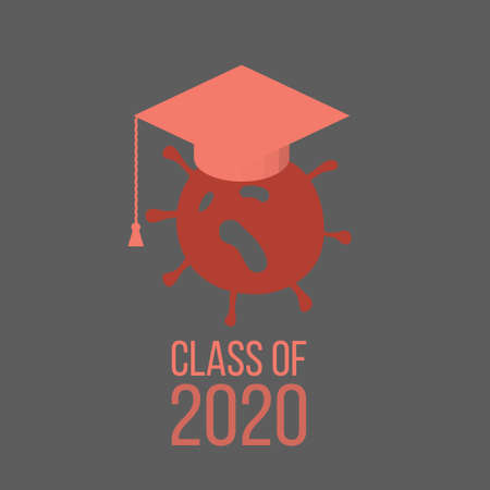 Graduating class in 2020 with Graduation Cap and coronavirus -   in cartoon style
