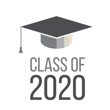 Graduating class in 2020 with Graduation Cap - gray color Illustration