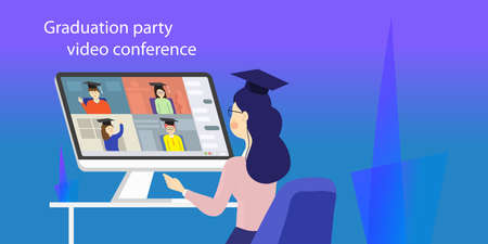 High school graduation party video conference. Last call  students  online meeting. Illustration