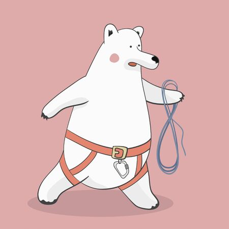 bear-climber - polar bear in a rescue harness and rope