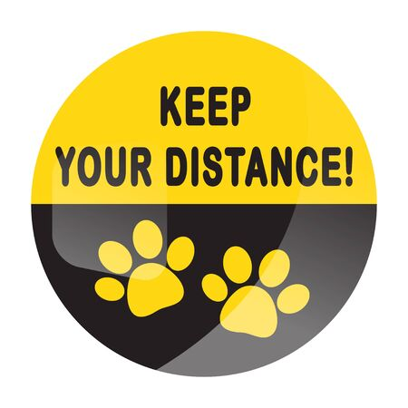 Keep your distance round floor marking for queue shoe prints as dog paw footprint - Yellow Social Distancing Instruction Icon