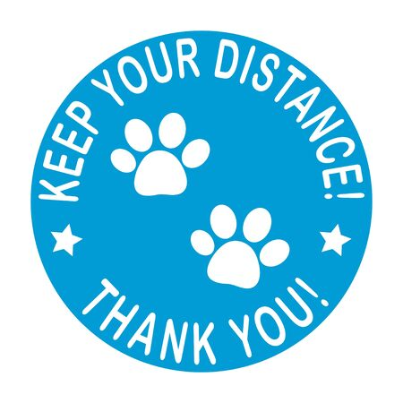 Keep your distance round floor marking for queue shoe prints as dog paw footprint - Blue Social Distancing Instruction Icon