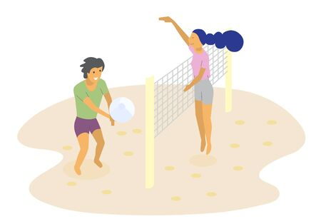 Smiling man and woman playing volleyball on sunny beach - flat illustration. Couple toss ball through net stand on sand isolated on white. People enjoying outdoor summer sport activity together on vacation Ilustracja