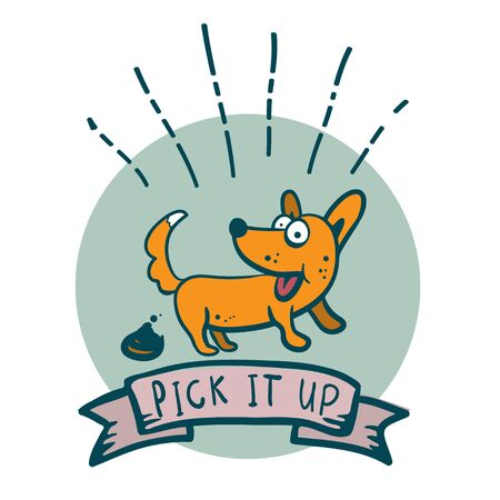 Cute happy dog put down the poop icon of a tattoo cartoon style happy dog - Pick it up