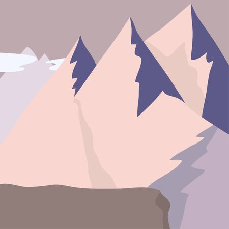 mountain landscape - mountain peaks in the light of a pink sunrise - background  イラスト・ベクター素材