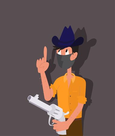 Cowboy in a hat with a revolver and a mask on his face stands with his forefinger raised up - ilustration in cartoon style