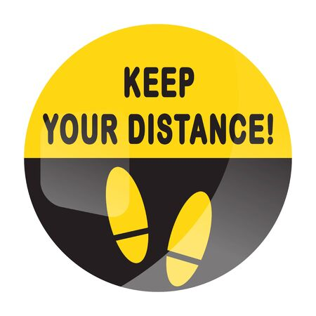Keep your distance round floor marking for queue shoe prints - Yellow Social Distancing Instruction Icon footprint