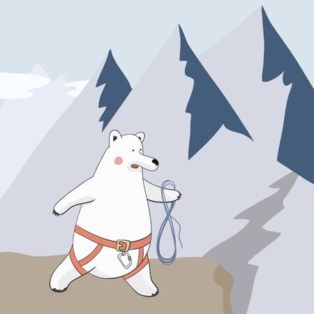 bear-climber - polar bear in a rescue harness and rope on the background of mountains