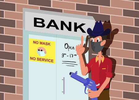 Caricature in cartoon style - robber stands in front of the Bank in a mask and with a gun - on the door of the Bank inscription - no mask - no service. No Entry Without Face Mask or Wear a Mask Icon Vettoriali