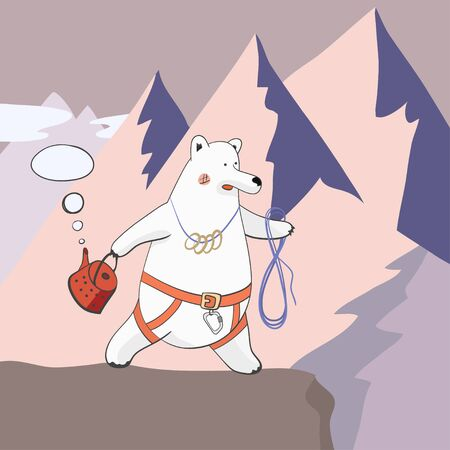 bear-climber - polar bear in a rescue harness and rope with a kettle on the background of mountains Ilustração