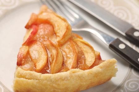 slice of Apple pie on a plate - autumn tart desert