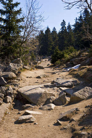 trecking: Trecking path with huge rocks and snow remnants
