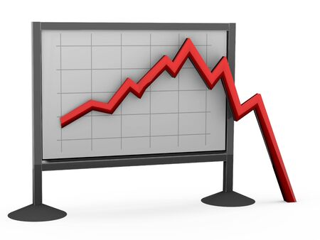 Red falling business chart. High resolution 3D render. Stock Photo