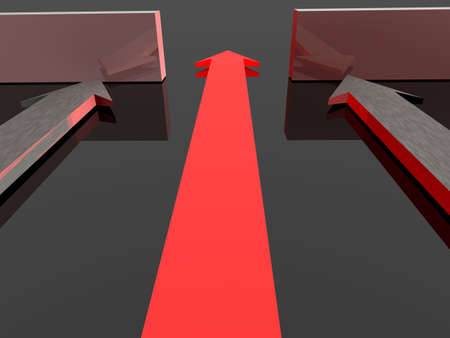 straight path: Glowing arrow makes it through the wall.High resolution 3D render. Stock Photo
