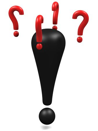 Black exclamation mark with flying question marks around the head.High resolution 3D render.