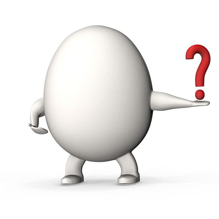 egg shaped: Egg shaped concept man offering a question.High resolution 3D render.