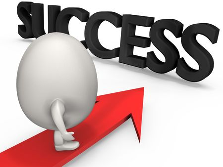 egg shaped: Egg shaped concept man surfs the arrow to success.High resolution 3D render. Stock Photo