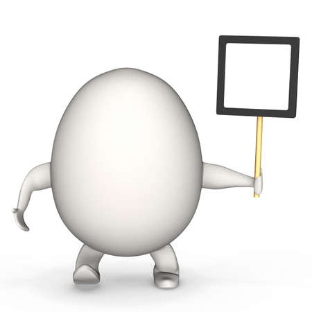 egg shaped: Egg shaped concept man holds copy space board.High resolution 3D render.