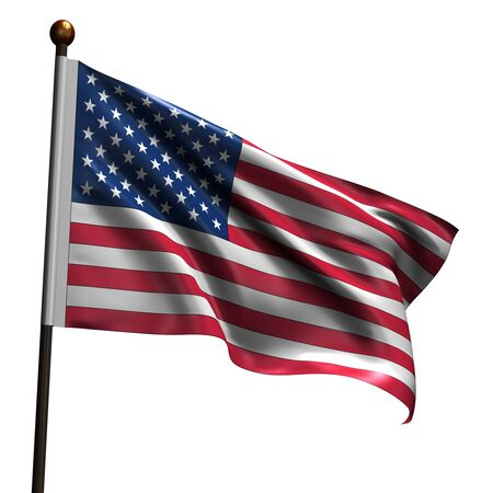 American flag. High resolution 3d render isolated on white. Stock Photo