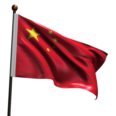 Chinese flag. High resolution 3d render isolated on white. Stock Photo