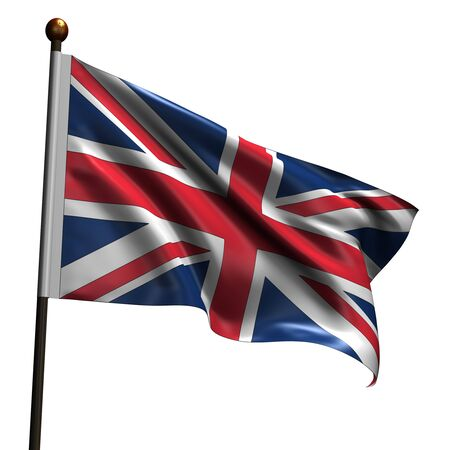 United Kingdom flag. High resolution 3d render isolated on white.
