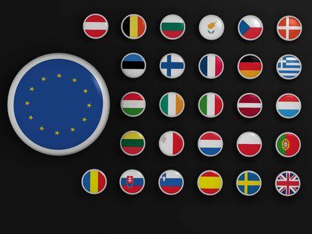 European Union. High resolution 3d render on black photo