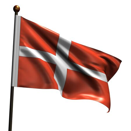 danish flag: Danish flag. High resolution 3d render isolated on white. Stock Photo