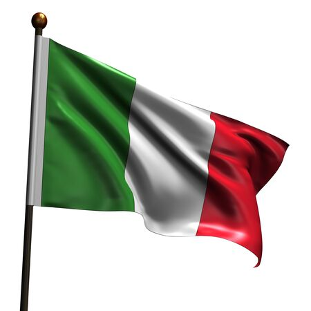 Italian flag. High resolution 3d render isolated on white.