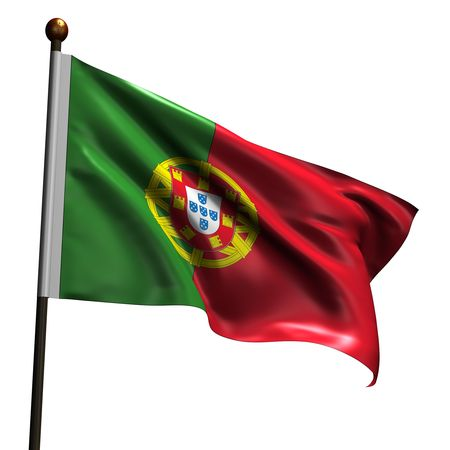 portugese: Portugese flag. High resolution 3d render isolated on white. Stock Photo