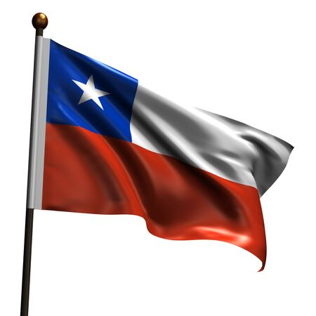 chilean flag: Chilean flag. High resolution 3d render isolated on white.