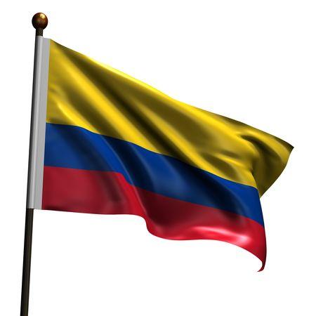 Bandera de Colombia. Procesamiento 3d de alta resolución aislado en blanco. Foto de archivo - 5105149