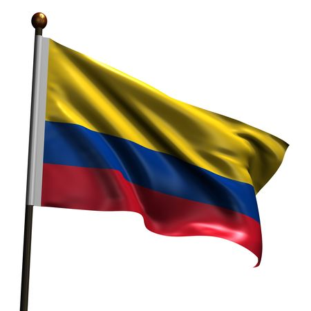 Colombian flag. High resolution 3d render isolated on white.