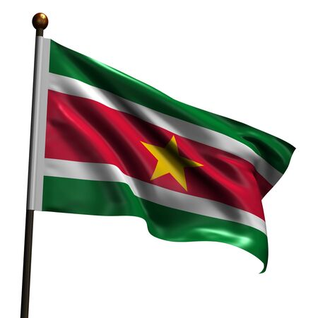Suriname flag. High resolution 3d render isolated on white. photo