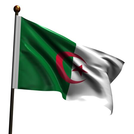 Flag of Algeria. High resolution 3d render isolated on white. Stock Photo - 5174416