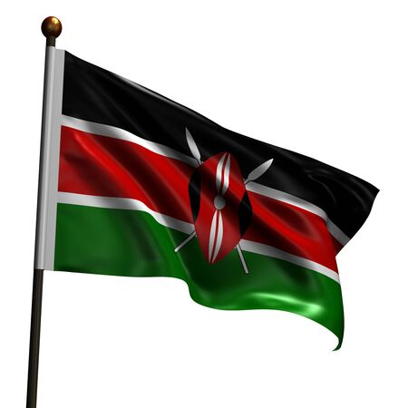 kenya: Flag of Kenya. High resolution 3d render isolated on white. Stock Photo