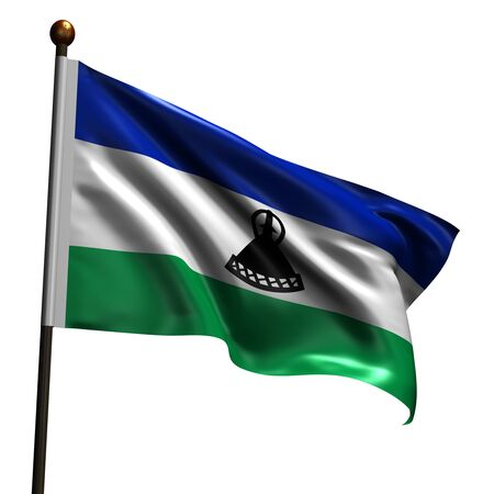 lesotho: Flag of Lesotho. High resolution 3d render isolated on white.