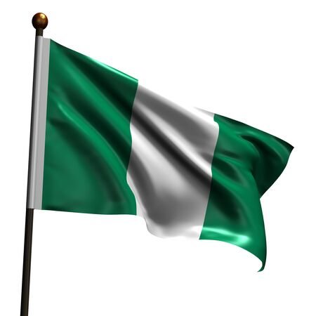 nigeria: Flag of Nigeria. High resolution 3d render isolated on white. Stock Photo