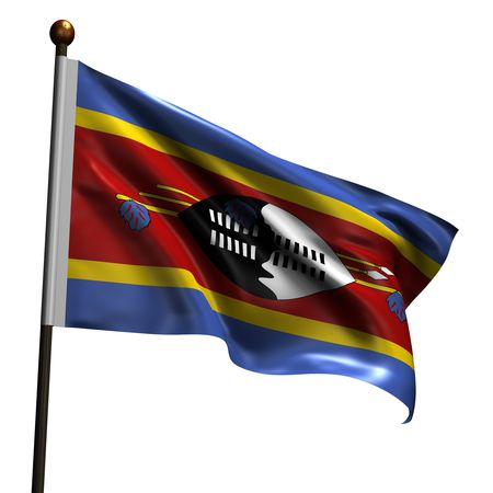 swaziland: Flag of Swaziland. High resolution 3d render isolated on white.