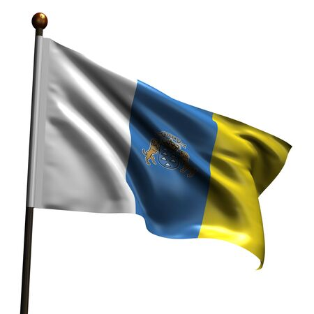 canary islands: Flag of Canary Islands. High resolution 3d render isolated on white.