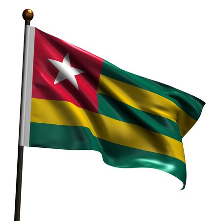 togo: Flag of Togo. High resolution 3d render isolated on white.