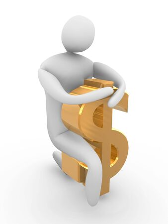 adherence: Man with dollar symbol.High Resolution 3D render isolated on white.