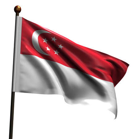 Flag of Singapore. High resolution 3d render isolated on white with fabric texture.