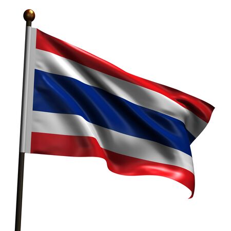 Flag of Thailand. High resolution 3d render isolated on white with fabric texture. photo