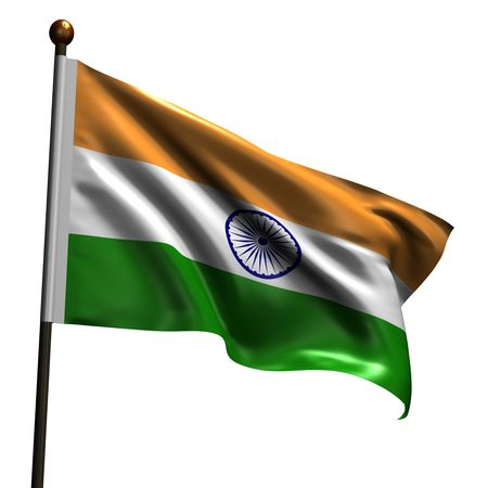 Flag of India. High resolution 3d render isolated on white with fabric texture. Stock Photo - 5315984