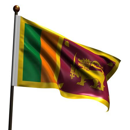 ceylon: Flag of Sri Lanka. High resolution 3d render isolated on white with fabric texture.