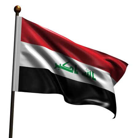 Flag of Iraq. High resolution 3d render isolated on white with fabric texture. photo